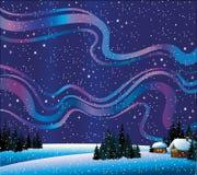 Vinternatur med nordliga lampor och hus vektor illustrationer