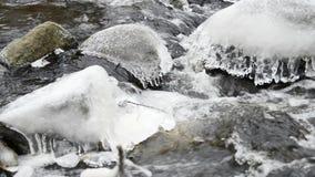 Vinternatur, rinnande vatten stock video