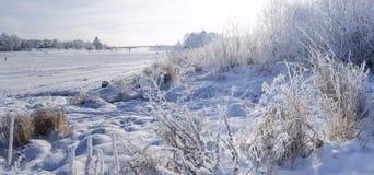 Vinterpanorama av Pskov Mirozhsky kloster vinter för blommasnowtid Orth Arkivbilder