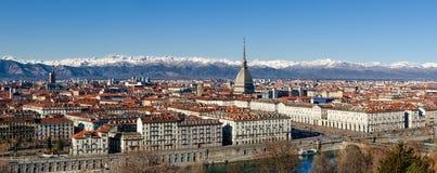 Vinterpanorama av Turin, Italien Royaltyfri Bild