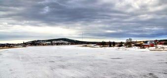 Vinterpanorama för Overkalix Arkivfoton