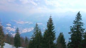 Vinterpanorama från monteringen Katrin, dåliga Ischl, Österrike arkivfilmer