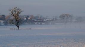 Vinterplats av lantgården och fält Royaltyfri Bild