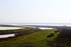 Vinterplatsen av den Junshan ön i Dongting sjöområde Royaltyfri Bild