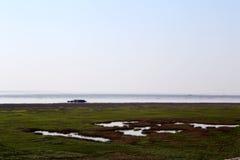 Vinterplatsen av den Junshan ön i Dongting sjöområde Arkivfoton
