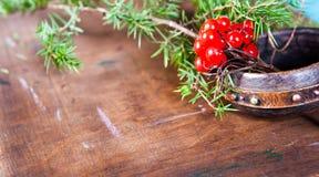 Vinterplatsen med nya gröna filialer av sörjer, järnek, en, kottar, stjärnan, röd bärbarberry i naturligt trä Royaltyfria Bilder