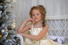vinterprinsessa på julgranen Royaltyfri Bild