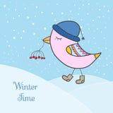 Vinterrosa färgfågel stock illustrationer