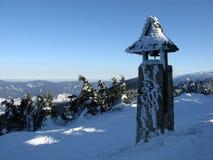 Vinters sikt in i en snöig klockstapel Royaltyfria Foton