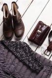 Vintersamling av mäns kläder royaltyfri foto