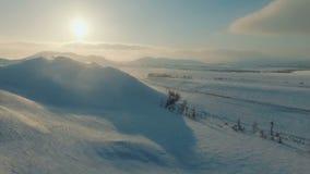 Vintersikt av berg på skymningen stock video