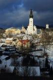 Vintersikt av staden av Branna arkivfoton