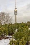 Vintersikt på den Olympiapark Munich Munchen Tyskland royaltyfria bilder