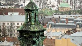 Vintersikt på Lviv, Ukraina lager videofilmer