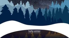 Vinterskog, barrträd, snöfall Bakgrund med ordhälsningar w vektor illustrationer