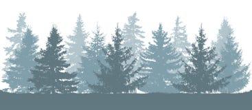 Vinterskog, kontur av granar också vektor för coreldrawillustration vektor illustrationer