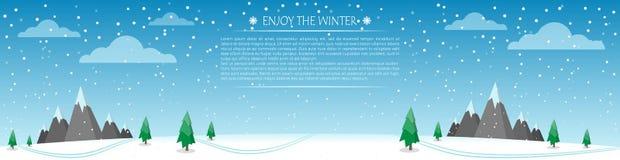 Vinterskog med berg panorama Stock Illustrationer
