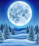 Vinterskog med månen Arkivbilder
