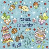 Vinterskogbakgrund Vektorillustration i childrish stil Royaltyfria Foton