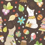 Vinterskogbakgrund Vektorillustration i childrish stil Arkivbild
