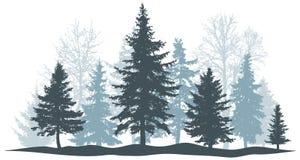 Vinterskogevergreen sörjer, det isolerade trädet Parkera julgranen Individuella separata objekt också vektor för coreldrawillustr royaltyfri illustrationer