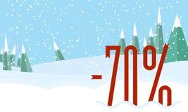 Vinterskoglandskap, snöig himmel Röda procent på snö Plan stil Arkivfoton