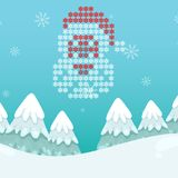 Vintersnöflinga Santa Blue Background Vector Image Fotografering för Bildbyråer