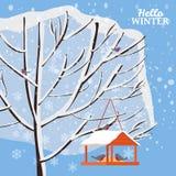 Vintersnölandskap, fågelförlagematare med matning, fåglar, träd som täckas med snö, vektor, illustration som isoleras, baner royaltyfri illustrationer