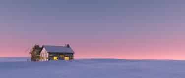 Vintersnölandskap på solnedgången med ensamhetkabinen Arkivfoton