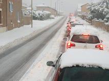 Vintersnötrafikstockning Royaltyfria Bilder