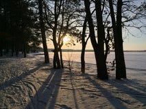 Vintersolnedgång över en frostad sjö arkivfoton