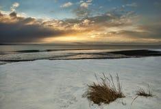 Vintersolnedgång arkivfoto