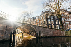 Vintersolnedgång i Amsterdam Royaltyfri Fotografi