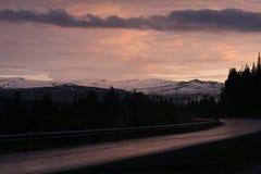 Vintersolnedgång i Norge Arkivbild