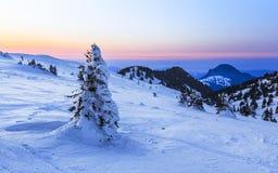 Vintersolnedgång i transylvanian berg royaltyfri foto