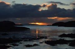 Vintersolnedgång på Shetland öar Arkivbild