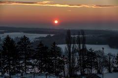 Vintersoluppgång i Polen Fotografering för Bildbyråer