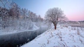 Vintersoluppgång på floden Arkivfoton
