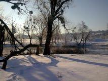 Vintersoluppgång på floden royaltyfri fotografi