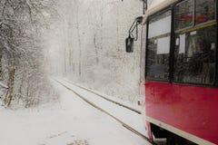 Vinterspårvagnritt Arkivbilder