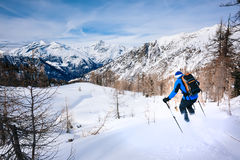 Vintersport: manskidåkning i pulversnö Arkivbilder