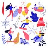 Vintersport och aktiv fritiduppsättning med folk som rider skridskor och snowboarden och har gyckel på snöröret och att skida royaltyfri illustrationer