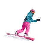 Vintersport, snowboarding - vektorillustration av en ung flickasnowboarder Royaltyfri Fotografi