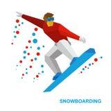 Vintersportar - snowboarding Tecknad filmsnowboarder under ett hopp Royaltyfri Bild
