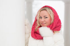 Vinterstående av den härliga kvinnan Arkivbild