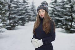 Vinterstående av den unga härliga flickan Fotografering för Bildbyråer