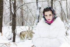 Vinterstående av en flicka Arkivfoto