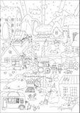 Vinterstad stock illustrationer
