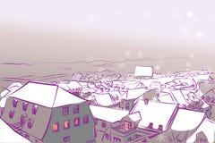 Vinterstad som omkullkastar violett snövektorbakgrund vektor illustrationer