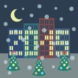 Vinterstadslandskap med byggnader, jul Arkivbild
